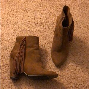 Brown suede booties
